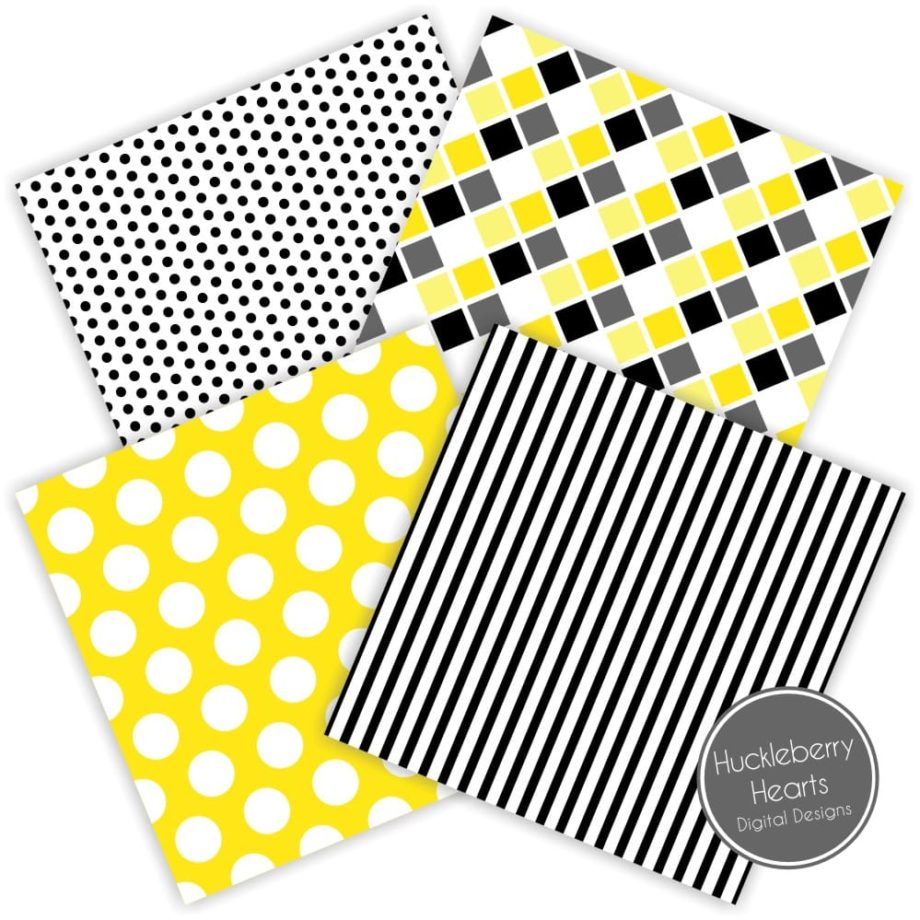 Black and Bright Yellow Digital Paper