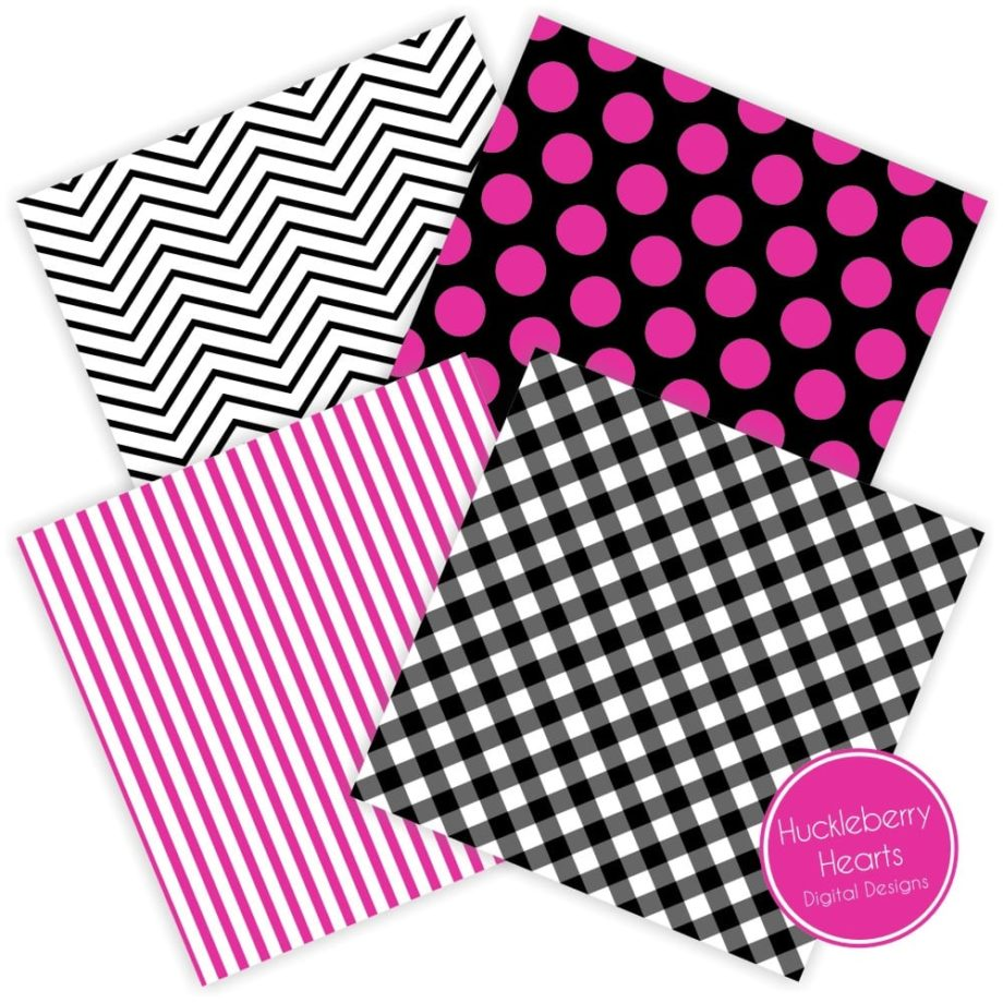 Black and Hot Pink Digital Paper