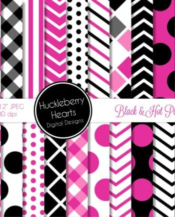 Black and Hot Pink Digital Paper