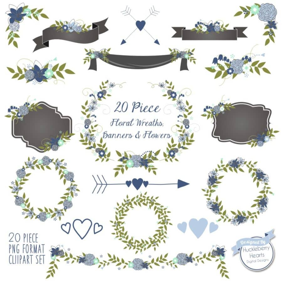 Blue Floral Wreaths Banners and Flowers Clipart