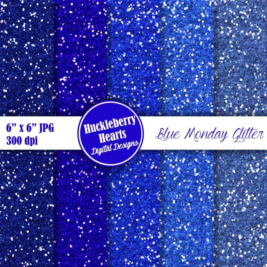 Blue Monday Glitter Digital Paper