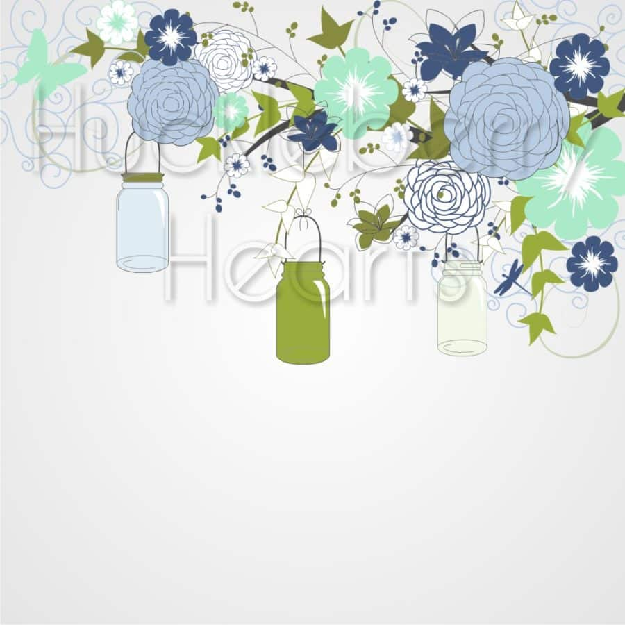 Blue and Green Flowers and Mason Jars Digital Paper