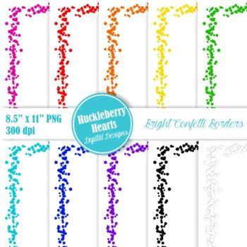 Bright Confetti Borders 8.5x11 Clipart