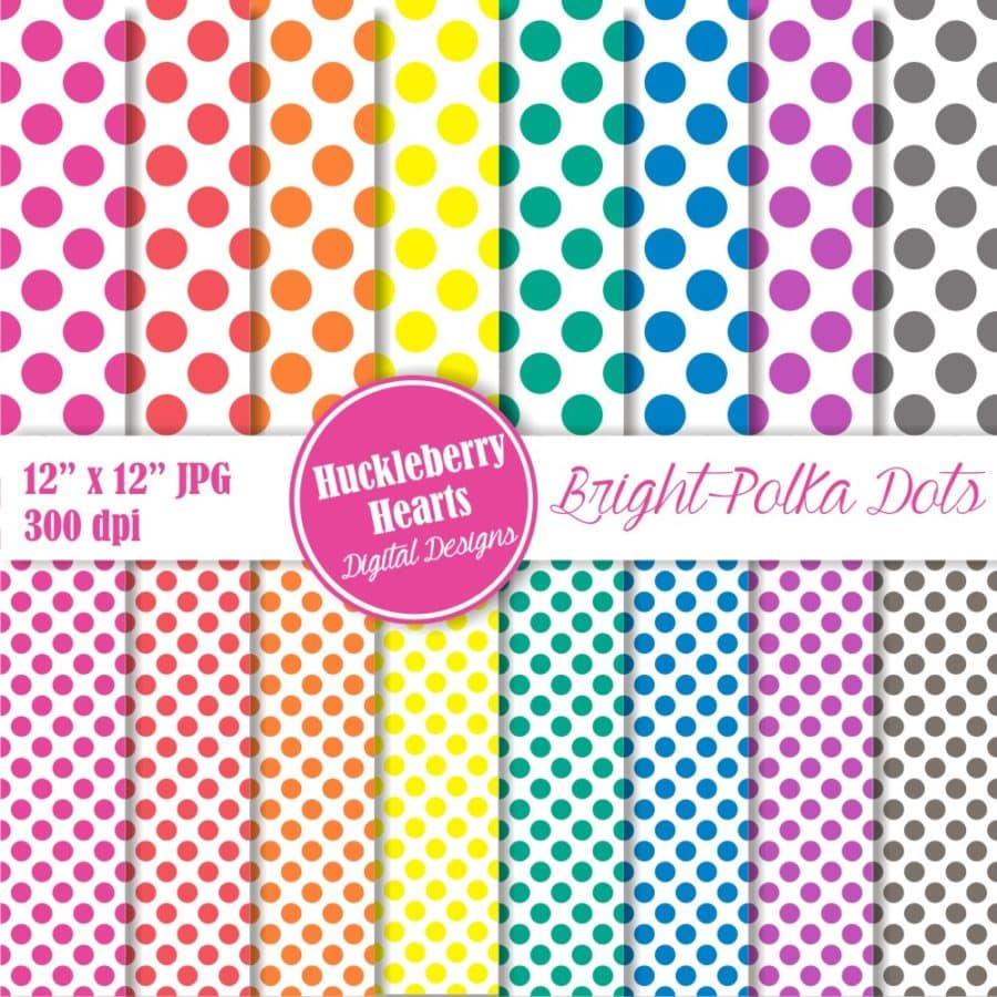 Bright Polka Dots Digital Backgrounds