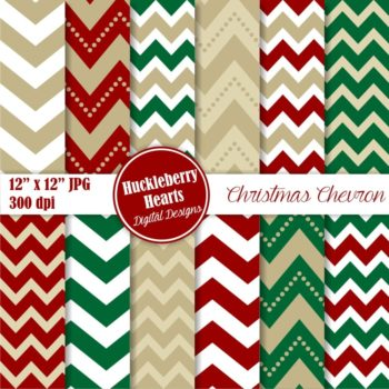 Christmas Chevron Digital Paper