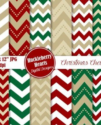 Christmas Chevron Digital Paper