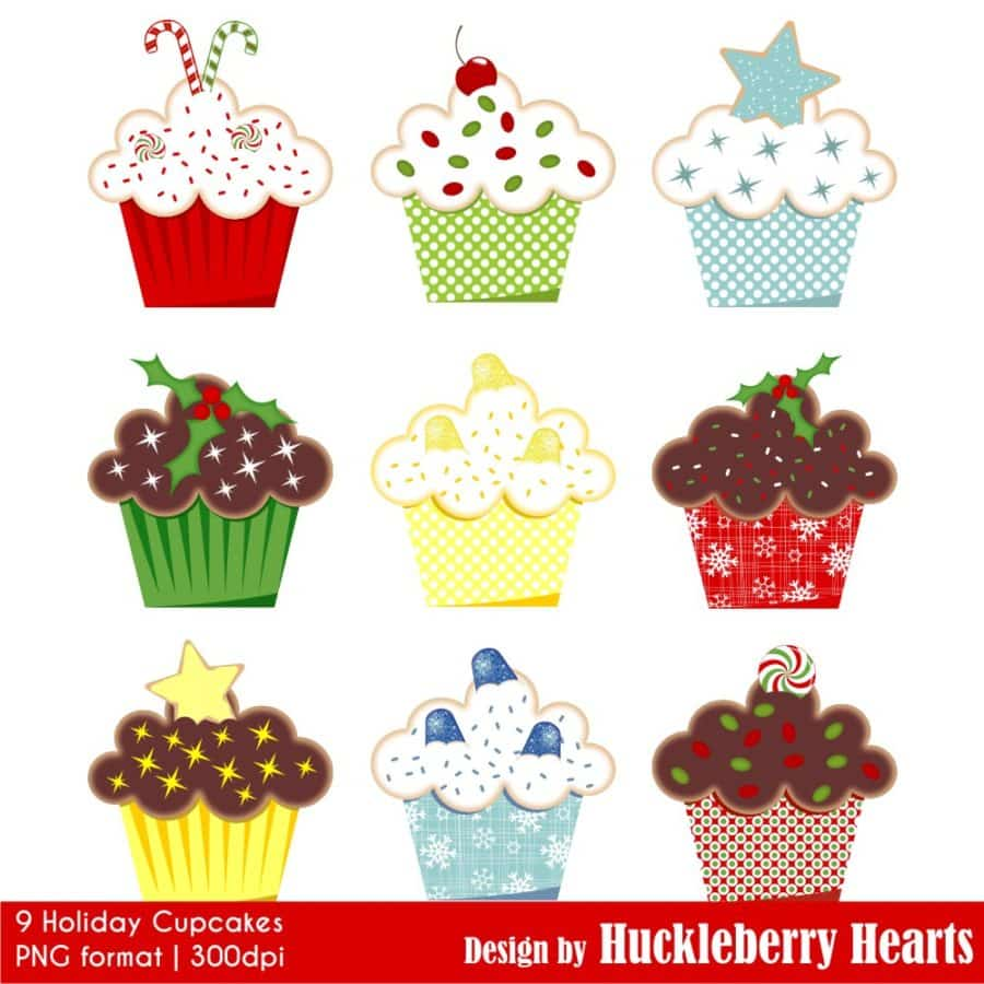 Holiday Cupcakes Clipart