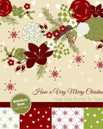 Christmas Flowers and Branches Digital Paper