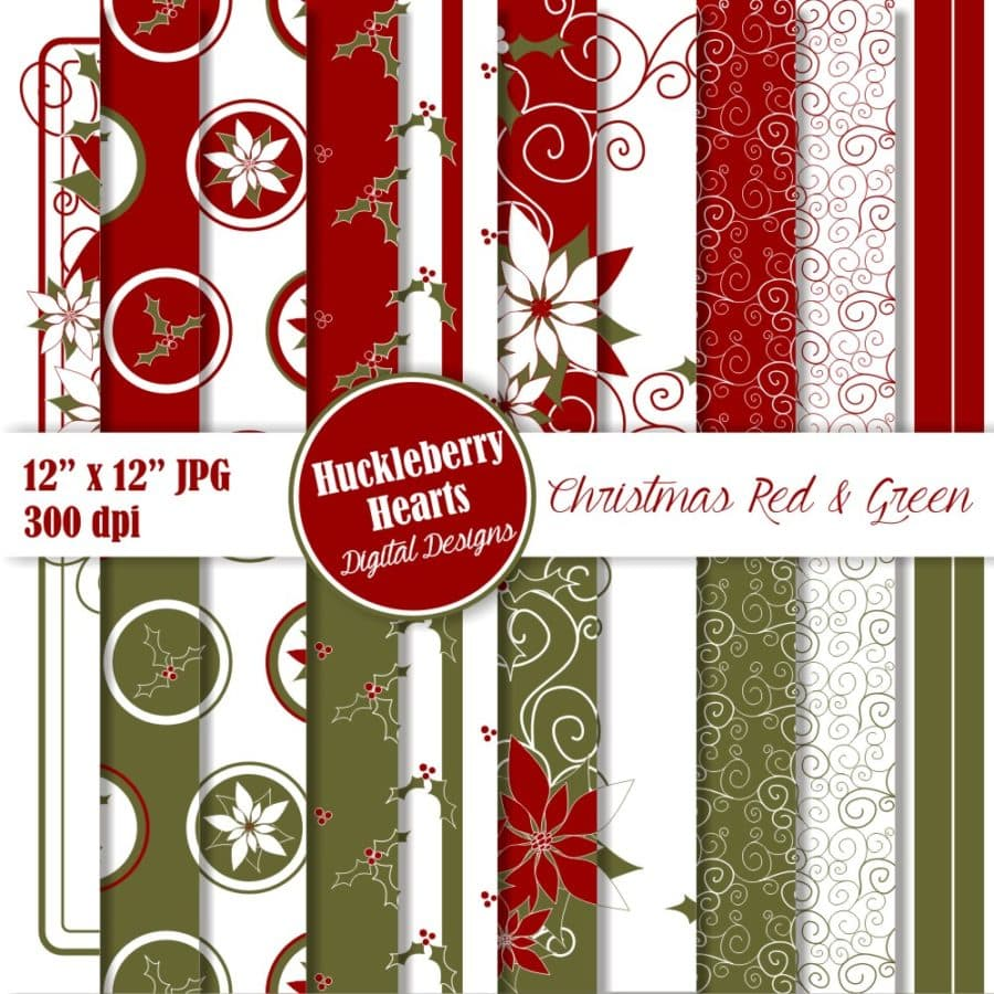 Red and Green Christmas Digital Paper