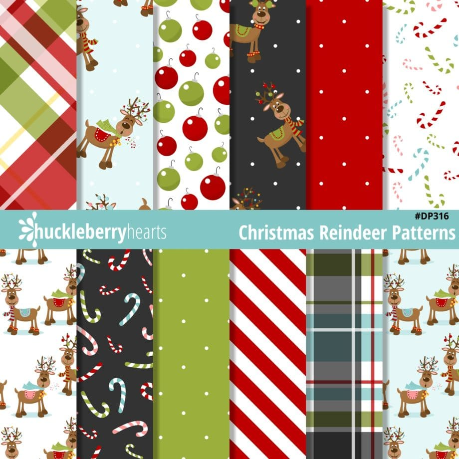 Assorted Christmas Reindeer Seamless Printable Patterns