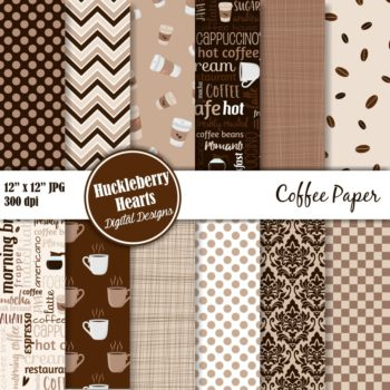 Coffee Digital Scrapbook Paper