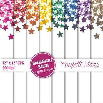 Confetti Stars Digital Scrapbook Paper