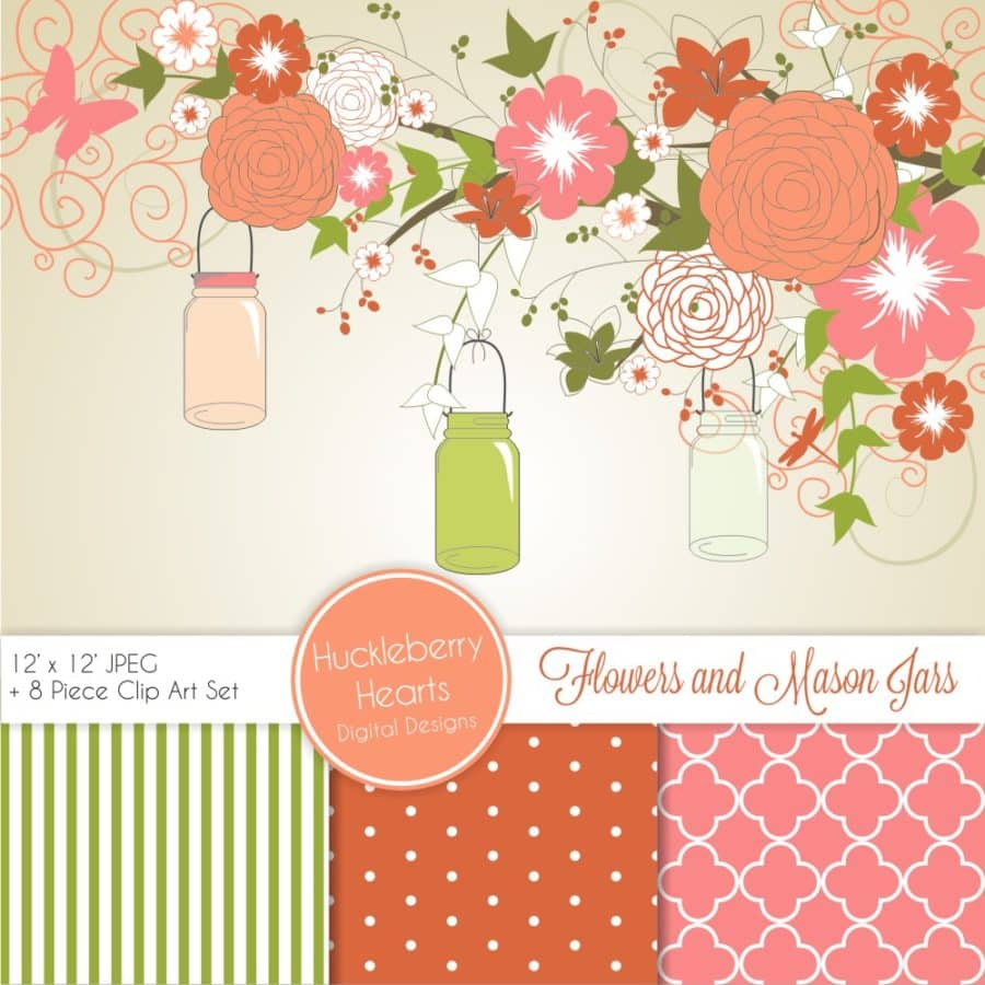 Coral Flower and Mason Jars Digital Paper