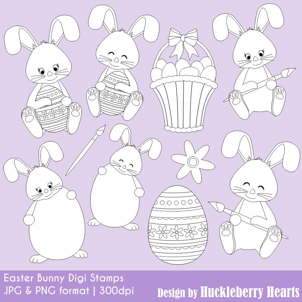 Easter Bunny Digital Stamps Clipart
