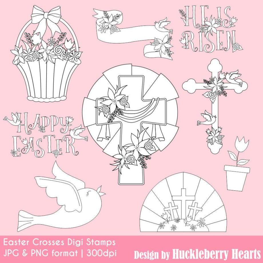 Easter Crosses Digital Stamps Clipart