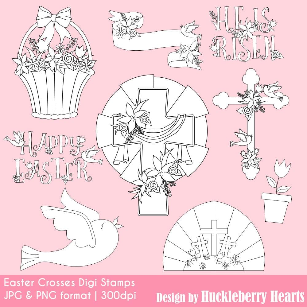 Easter Crosses Digital Stamps Clipart