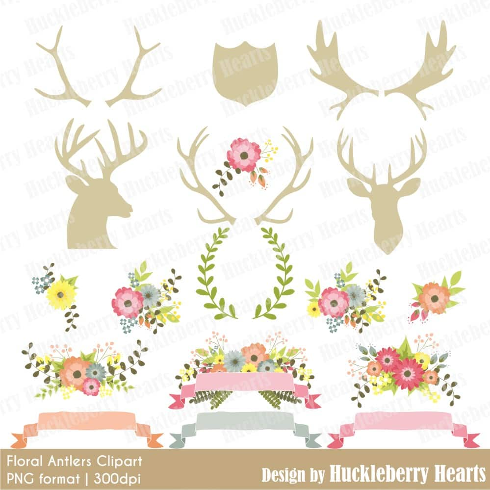 Floral Antlers Clipart