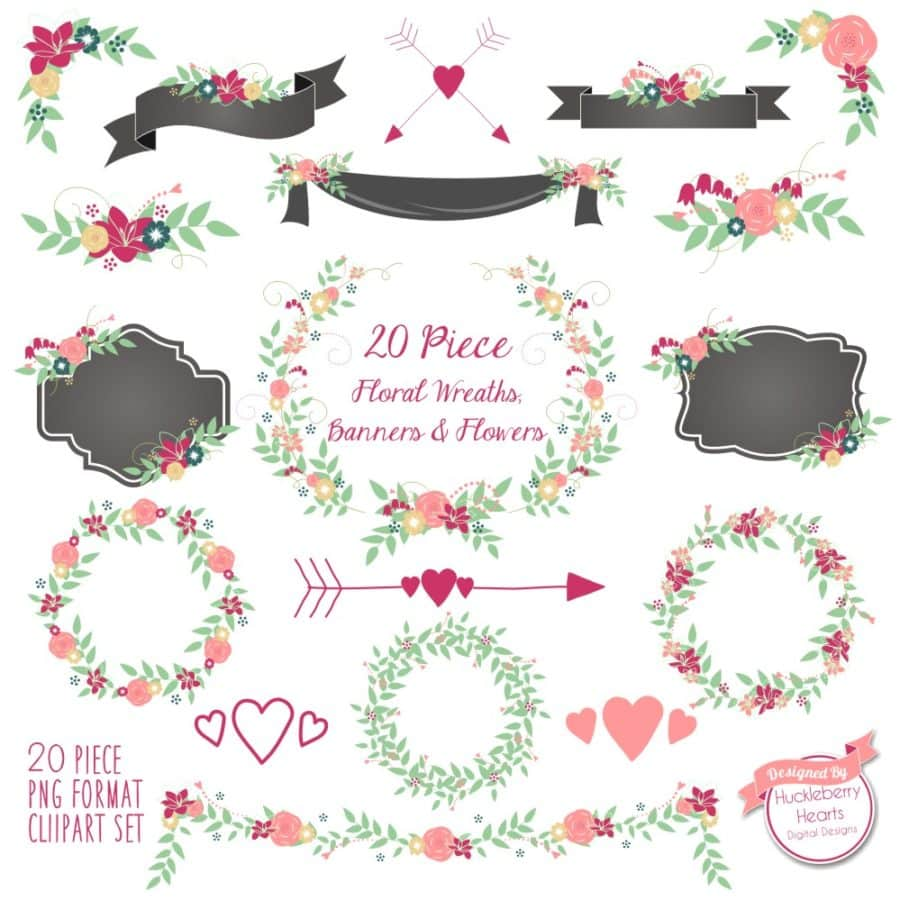 Pink Floral Wreaths Banners and Flowers Clipart