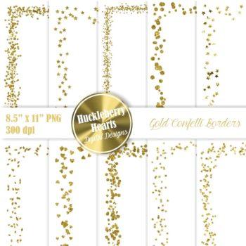 Gold Confetti Borders 8.5 X 11 Clipart