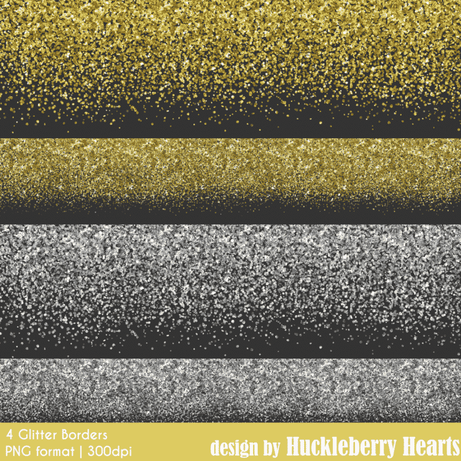 Gold And Silver Glitter Borders Clipart