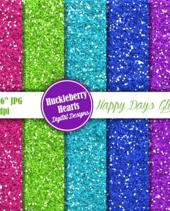 Happy Days Glitter Digital Paper