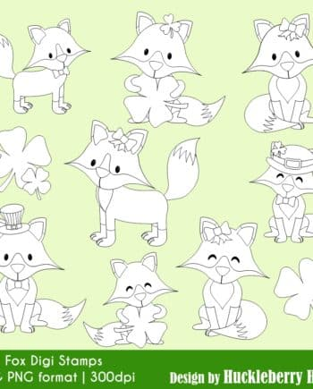 Lucky Fox Digital Stamps Clipart