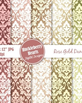 Metallic Rose Gold Damask Digital Paper