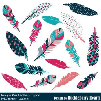 Navy And Pink Feather Clipart