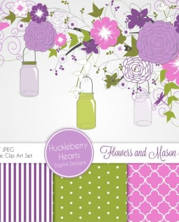 Purple and Pink Flowers and Mason Jars Digital Paper