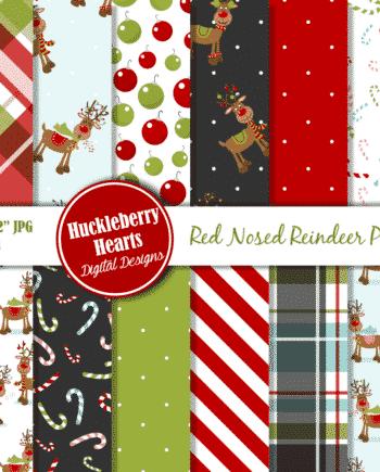 Red Nosed Reindeer Digital Paper