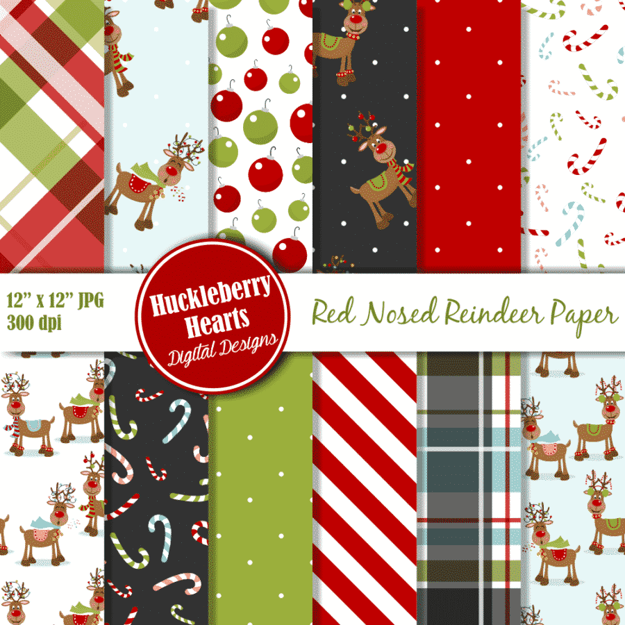 Red Nosed Reindeer Digital Paper