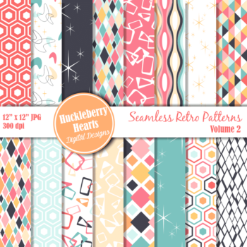 Retro Seamless Patterns Vol 2 Digital Paper