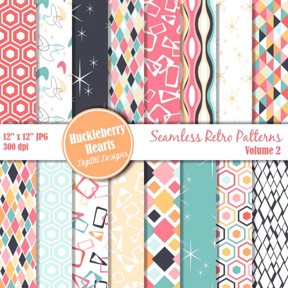 Retro Seamless Patterns Vol 2 Digital Paper