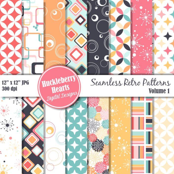 Retro Seamless Patterns Vol 1 Digital Paper