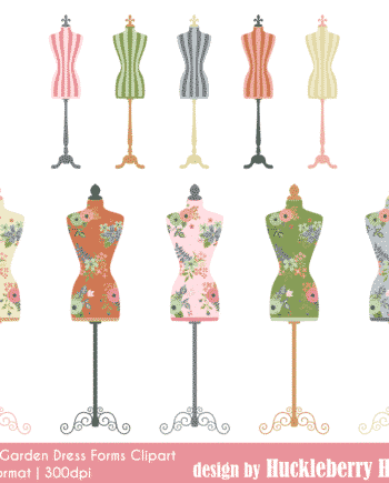 Rose Garden Dress Forms Clipart
