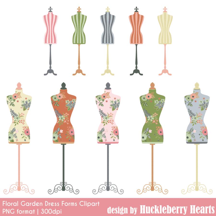 Rose Garden Dress Forms Clipart