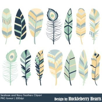 Seafoam And Navy Feathers Clipart