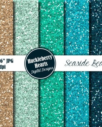 Seaside Beach Glitter Digital Paper