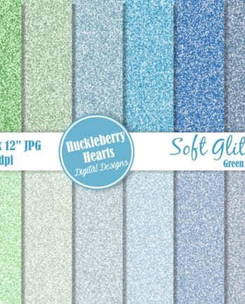 Soft Glitter Green And Blue Digital Paper