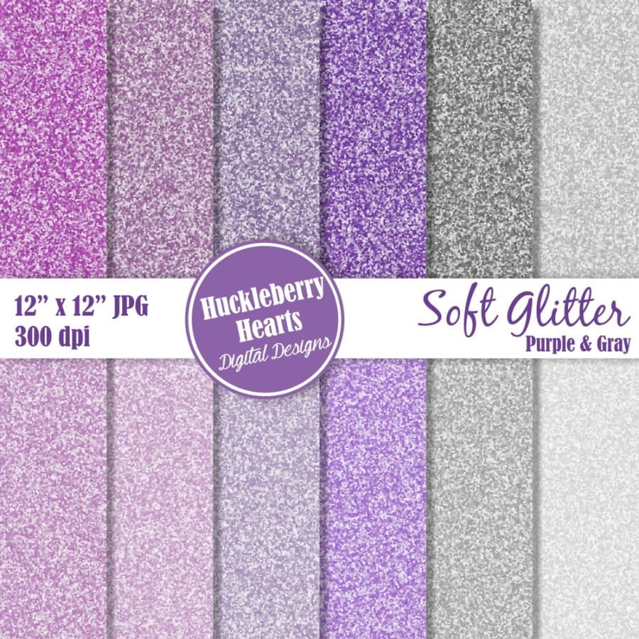 Soft Glitter Purple And Gray Digital Paper