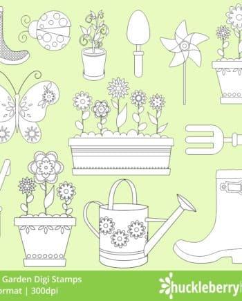 Spring Garden Digi Stamps