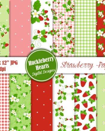 Strawberry Digital Scrapbook Paper