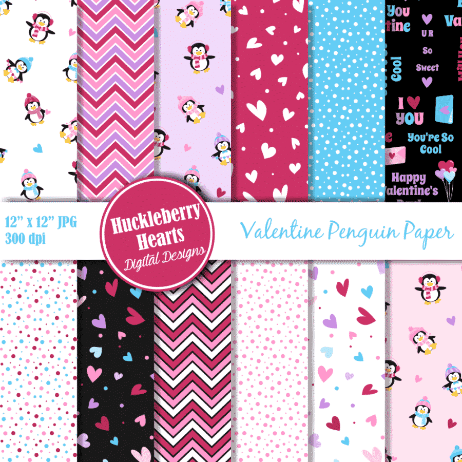 Valentine Penguins Digital Scrapbook Paper