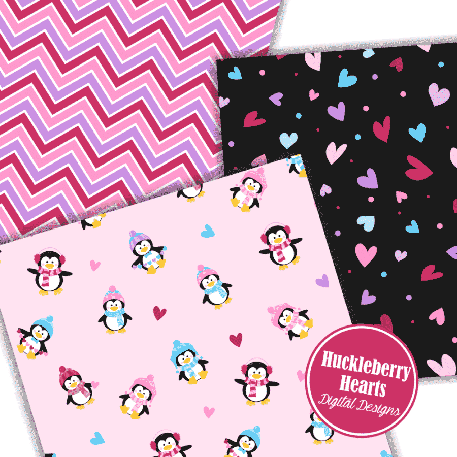 Valentine Penguins Digital Paper