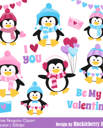 Valentine Penguins Clipart
