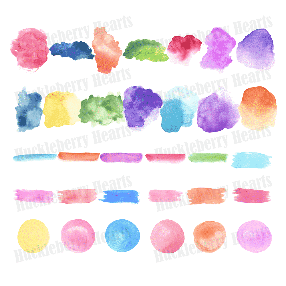watercolor essentials clipart huckleberry hearts