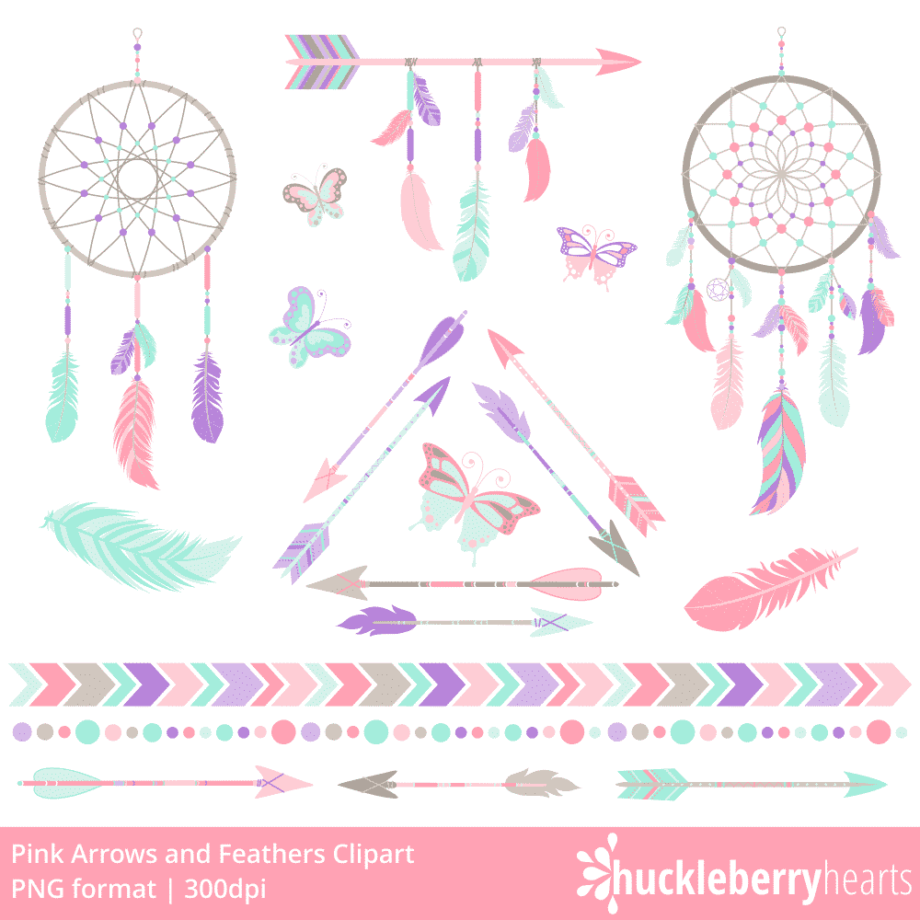 Pink Arrows and Feathers Clipart