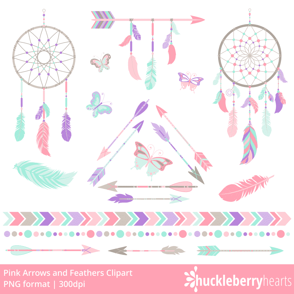 pink arrows and feathers clipart huckleberry hearts