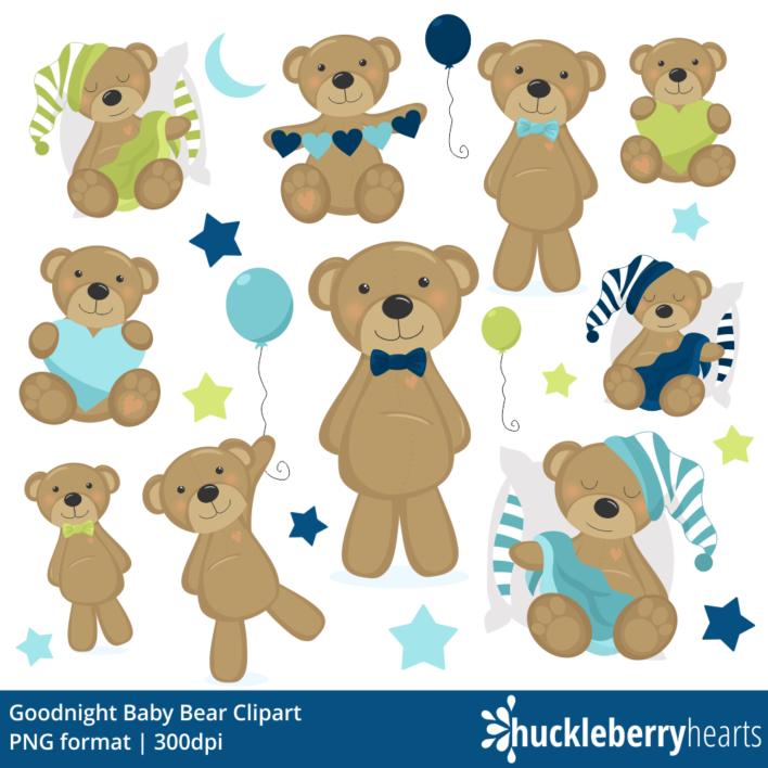 Goodnight Baby Bear Blue Clipart
