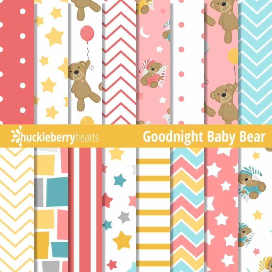 Goodnight Baby Bear Pink Paper